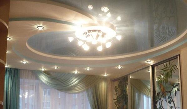 Комбинированные потолки из гипсокартона и натяжные своими руками