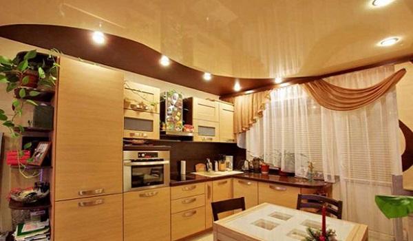 Двухуровневый потолок на кухне дизайн